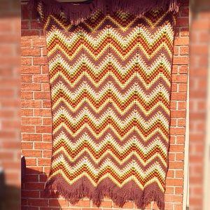 Large Vintage Boho Earth Tone Afghan Blanket 76x46